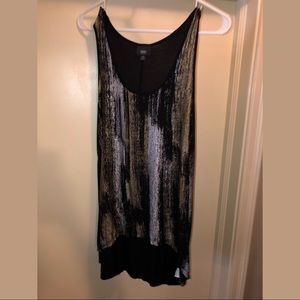 Black Gold & Silver Sleeveless Top Women's Medium